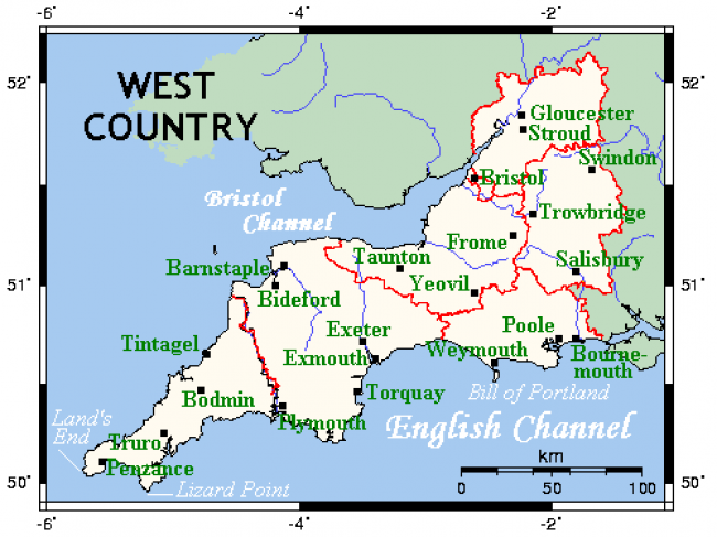 Map of the West Country