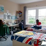 Twin Room at oak house with 2 students studying