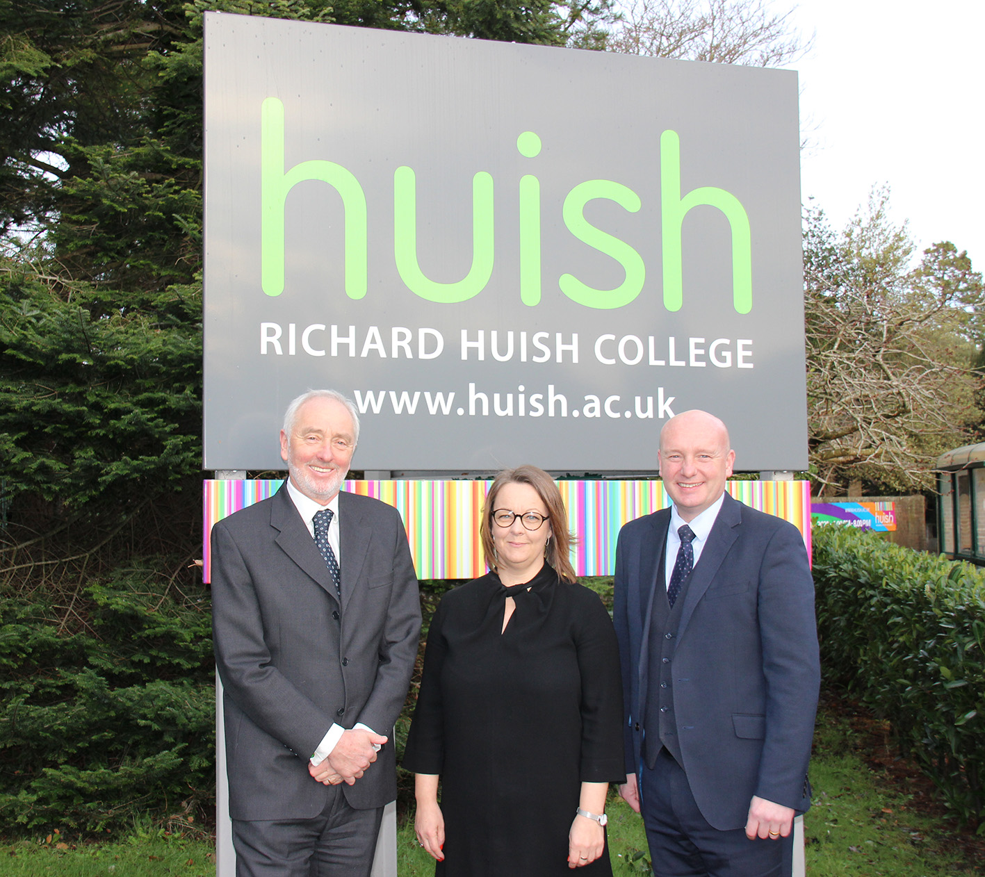 L to R – David Griffin (Chair of Governors), Emma Fielding (Principal), John Abbott (Chief Executive, Huish Education Group)