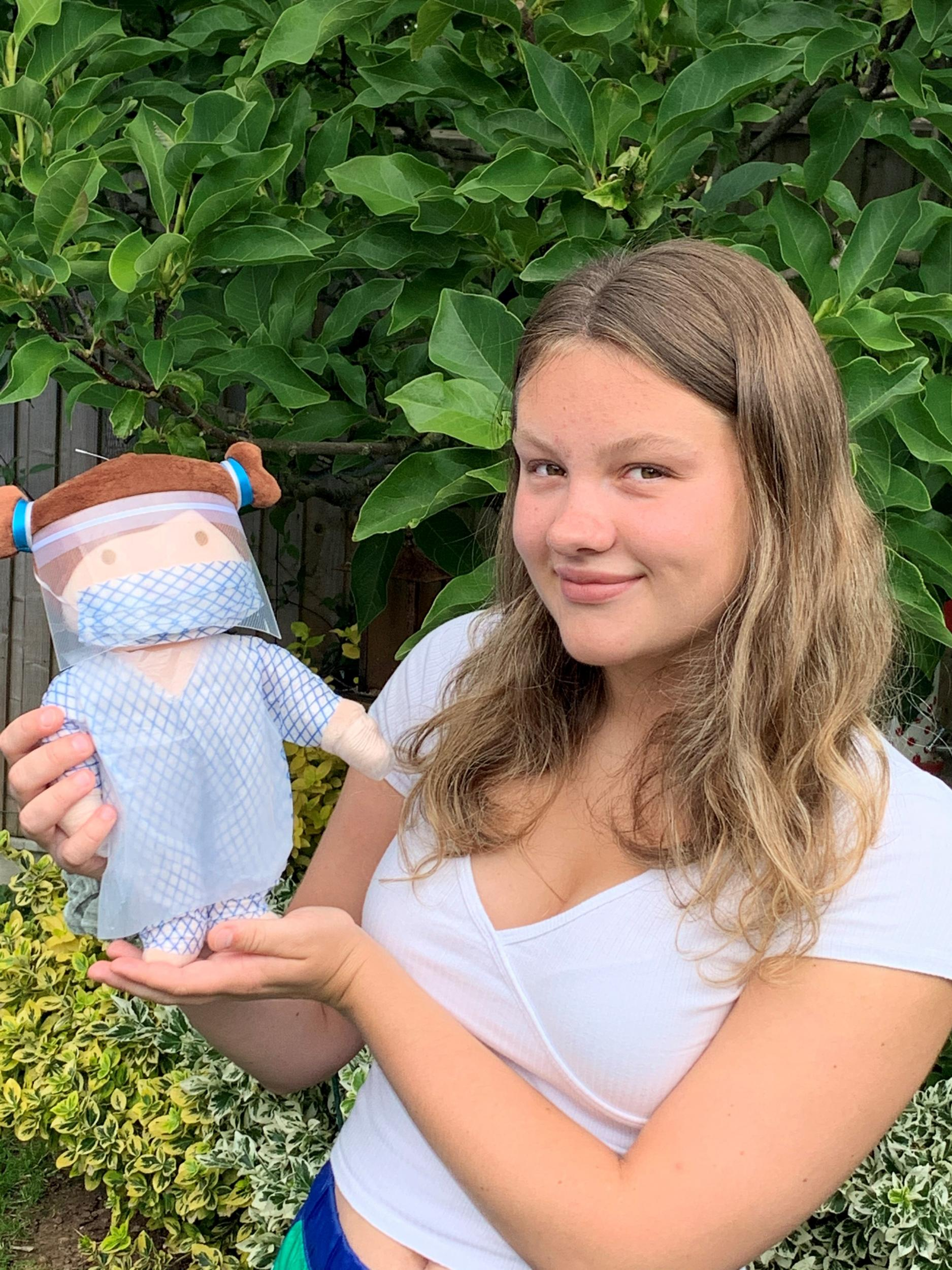 Amy Hubbard with doll