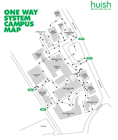 map of one way system at huish