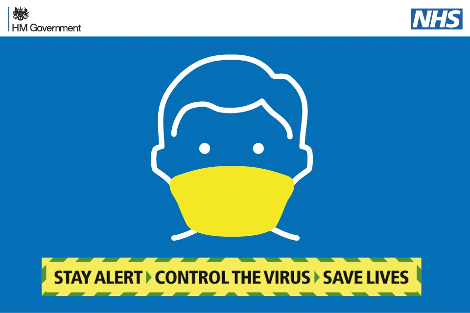 Face mask drawing with wording stay alert, control the virus, save lives