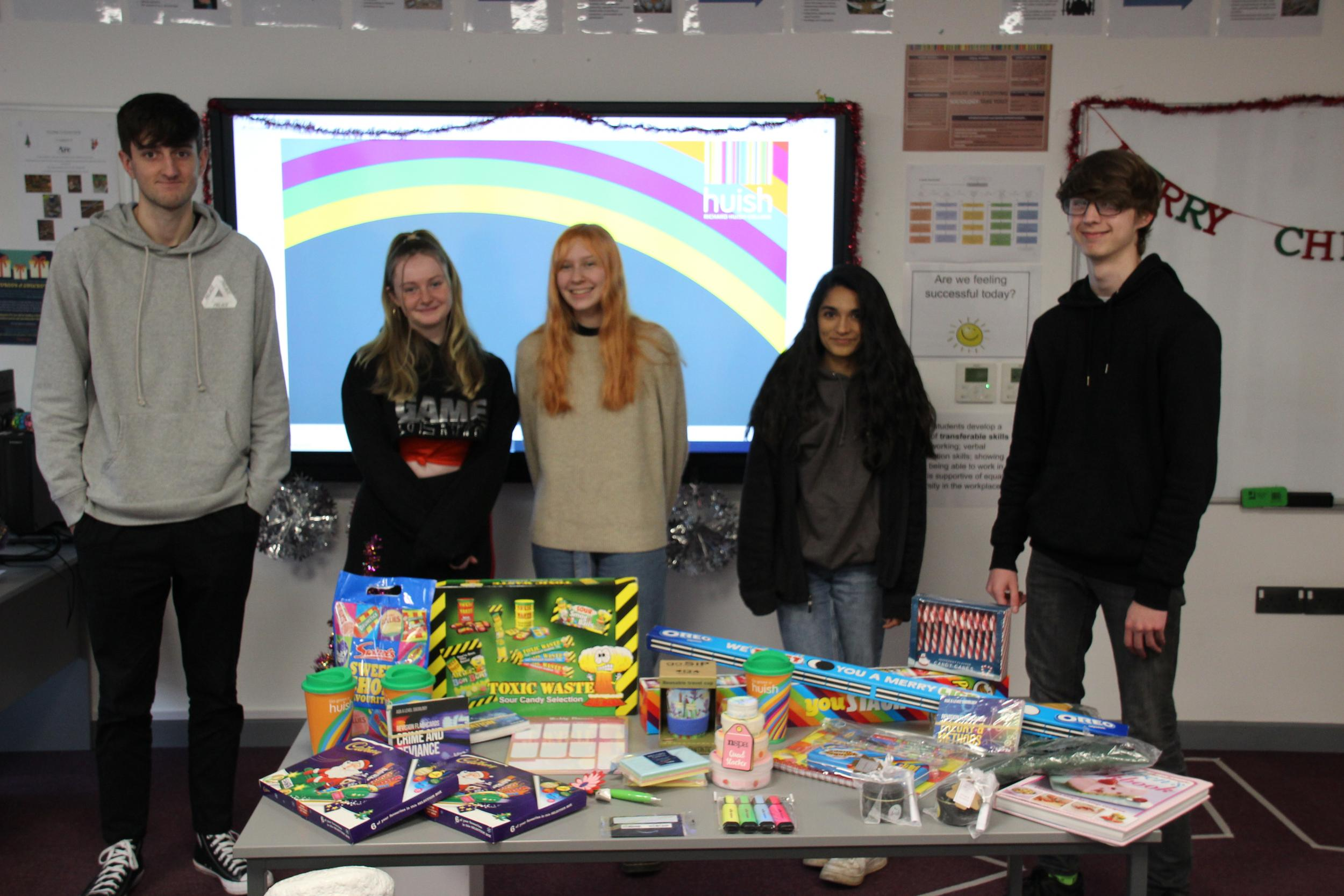 Sociology students with raffle prizes