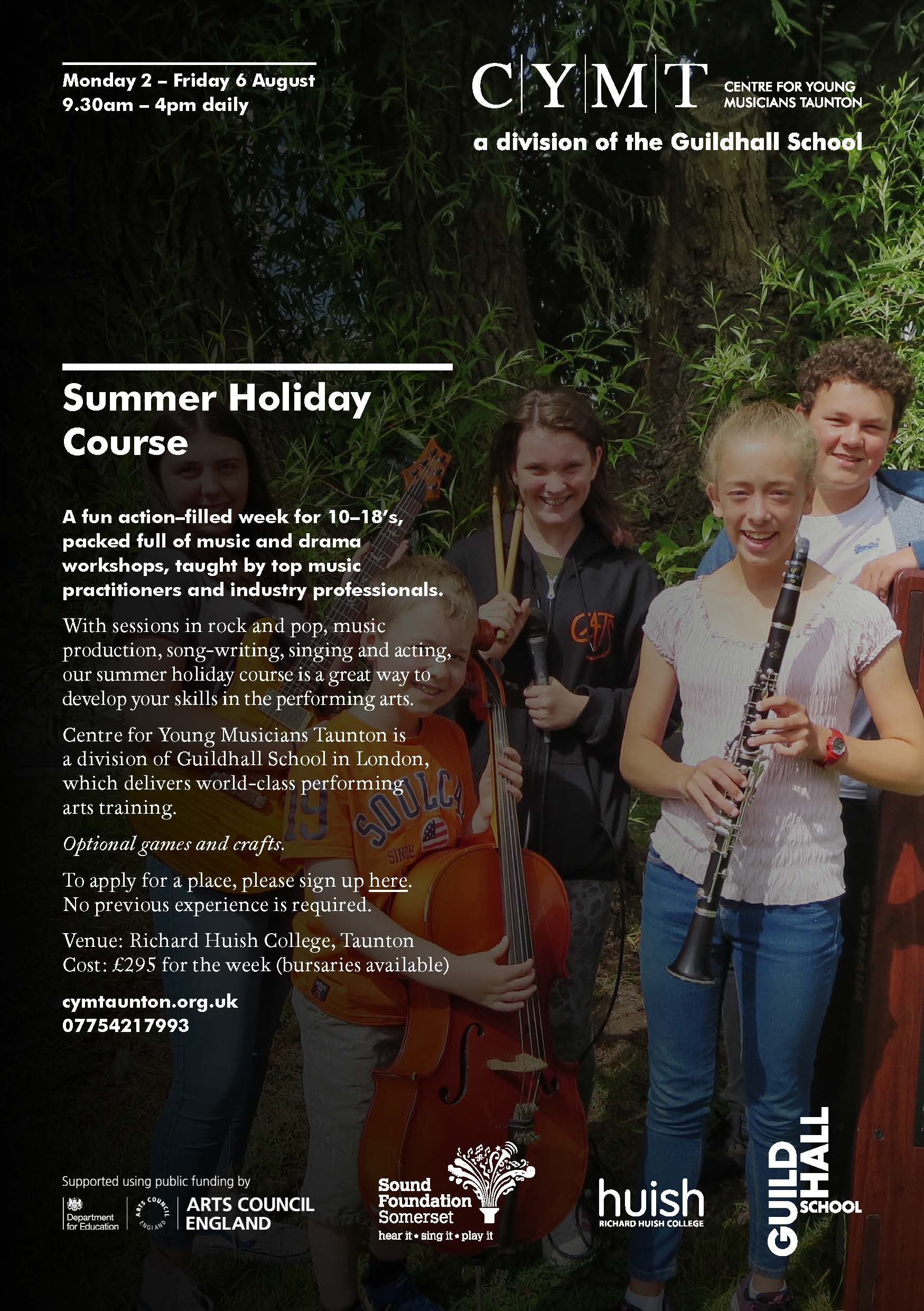 CYMT Summer Course Flyer with picture of children