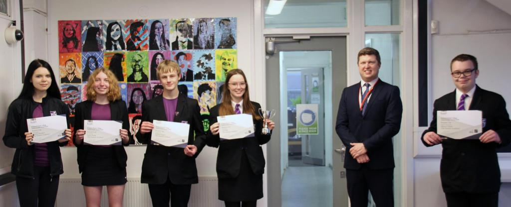 Entrants of 2020 Brunner Cup with certificates alongside Huish Assistant Principal