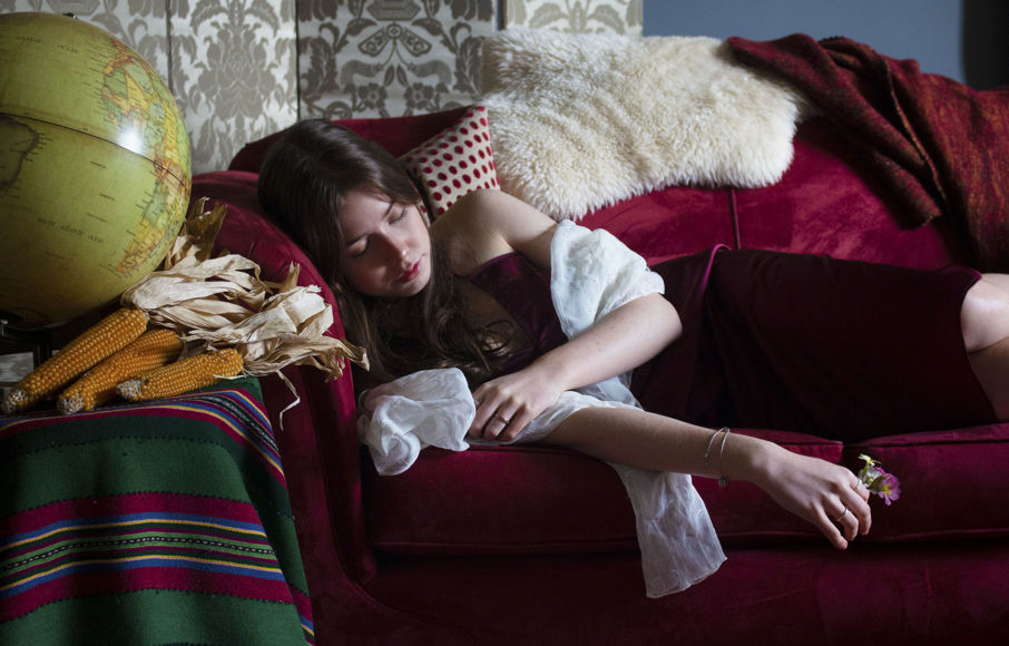 'After Degas' by Olivia Musson: girl lay on couch