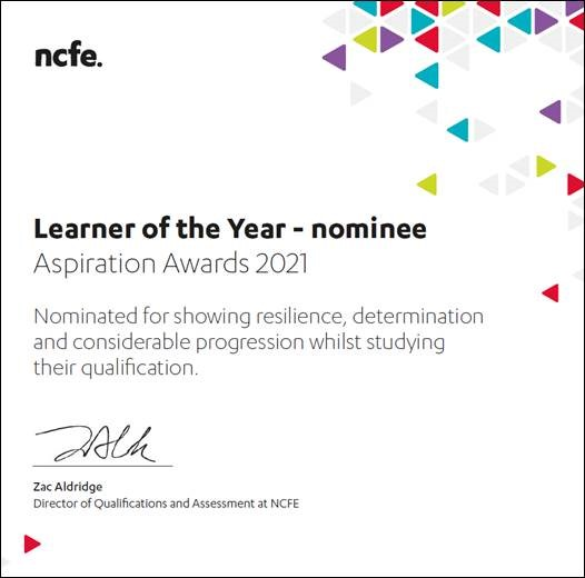 Learner of the Year Certificate