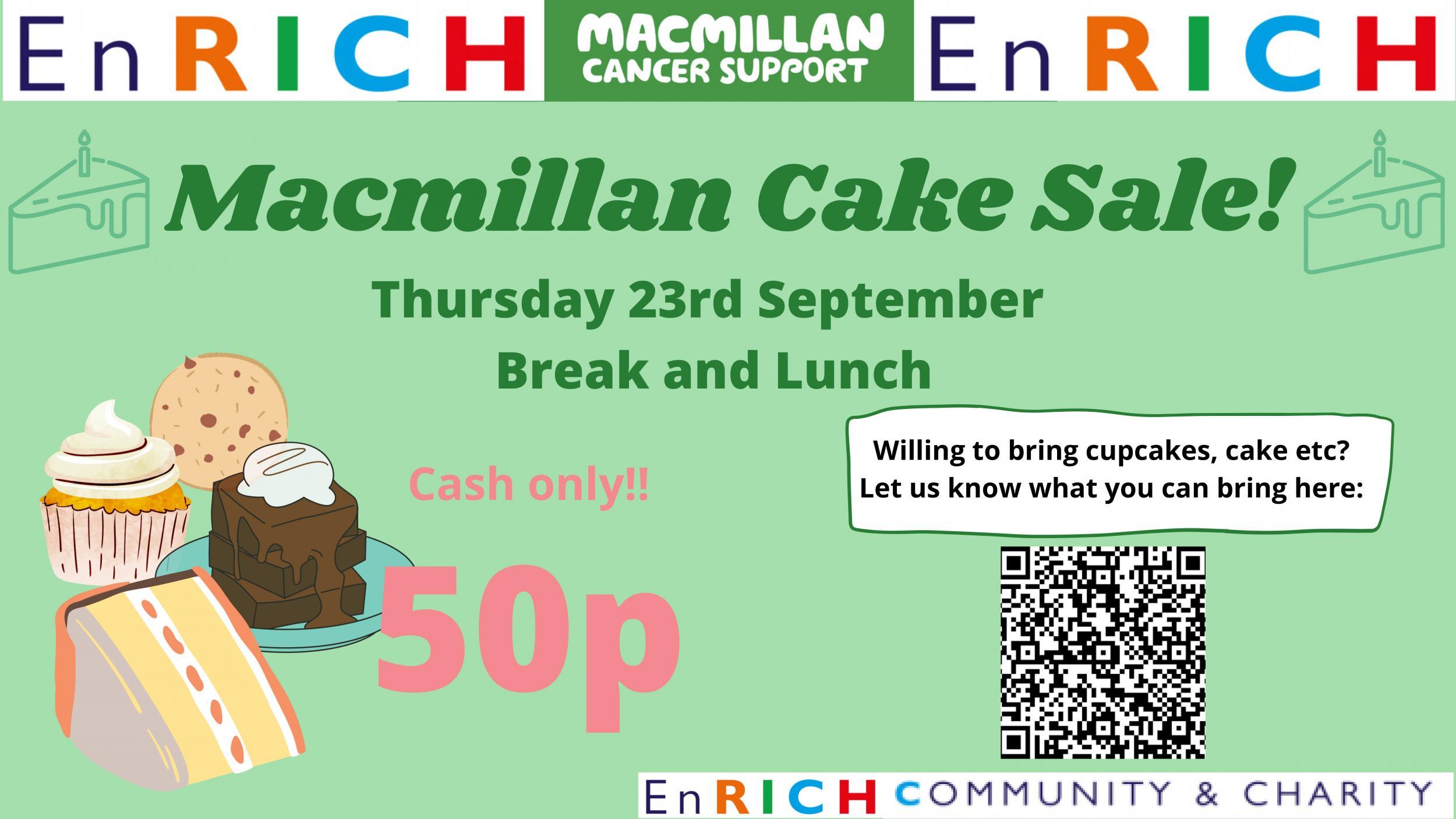 Macmillan Cake Sale poster